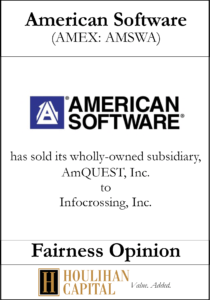 American Software - Fairness Opinion Tombstone