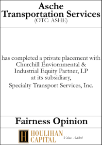 Asche Transportation Service - Fairness Opinion Tombstone