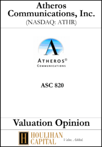 Atheros - ASC 820 - Valuation Opinion Tombstone
