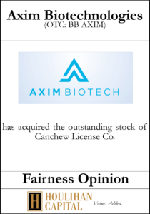 Axim Biotechnologies - Fairness Opinion Tombstone