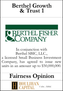 Berthel Fisher & Co. - Fairness Opinion Tombstone