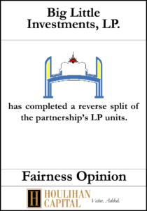 Big Little Investments - Fairness Opinion Tombstone