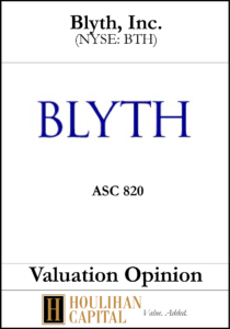 Blyth Inc. - ASC 820 - Valuation Opinion Tombstone