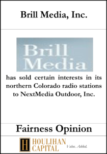 Brill Media - Fairness Opinion Tombstone