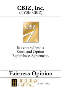CBIZ - Fairness Opinion Tombstone