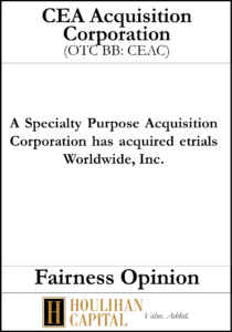 CEA Acquisition Corp - Fairness Opinion Tombstone