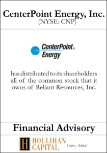 CenterPoint Energy - Financial Advisory Tombstone