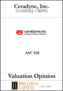 Ceradyne - ASC 820 - Valuation Opinion Tombstone