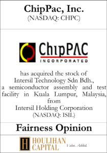 ChipPac, Inc. - Fairness Opinion Tombstone