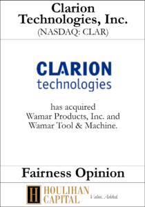 Clarion Technologies - Fairness Opinion Tombstone