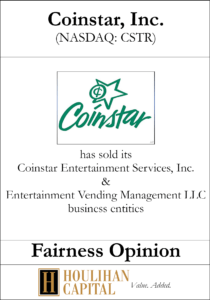 Coinstar - Fairness Opinion Tombstone