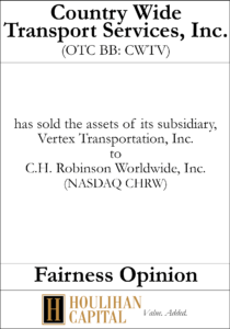 Country Wide Transport Service - Fairness Opinion Tombstone