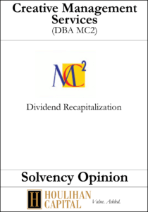 Creative Management - Solvency Opinion Tombstone