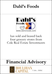 Dahl's Food - Financial Advisory Tombstone