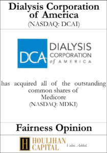 Dialysis Corporation of America - Fairness Opinion Tombstone