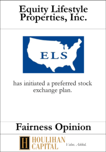 Equity Lifestyle Properties, Inc. - Fairness Opinion Tombstone