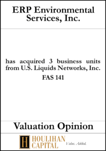 ERP Environmental Services Inc - FAS 141 - Valuation Opinion Tombstone