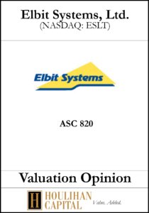 Elbit Systems - ASC 820 - Valuation Opinion Tombstone