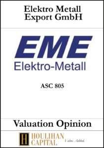 Electro Metall - ASC 805 - Valuation Opinion Tombstone