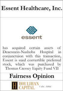 Essent Healthcare - Fairness Opinion Tombstone