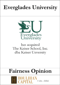Everglades University - Fairness Opinion Tombstone