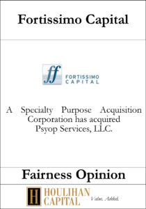 Fortissimo Capital - Fairness Opinion Tombstone