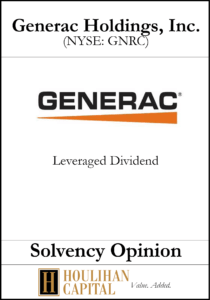 Generac Holdings - Solvency Opinion Tombstone