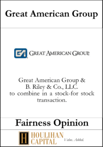 Great American Group - Fairness Opinion Tombstone