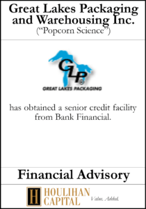 Great Lakes Packaging and Warehousing, Inc. - Financial Advisory Tombstone