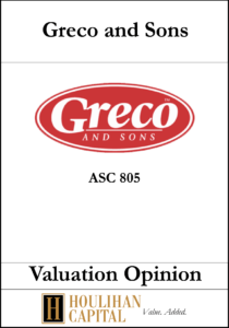 Greco & Sons - ASC 805 - Valuation Opinion Tombstone