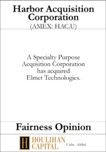 Harbor Acquisition Corporation - Fairness Opinion Tombstone