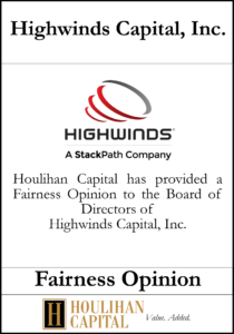 Highwinds Capital - Fairness Opinion Tombstone