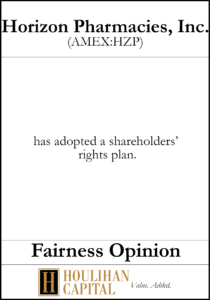 Horizion Pharmacies - Fairness Opinion Tombstone