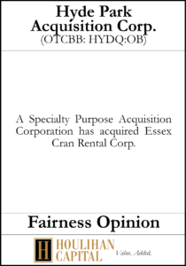 Hyde Park Acquisition Corp. - Fairness Opinion Tombstone