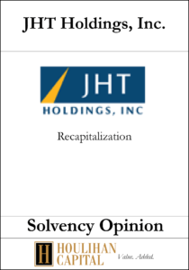 JHT Holdings - Solvency Opinion Tombstone