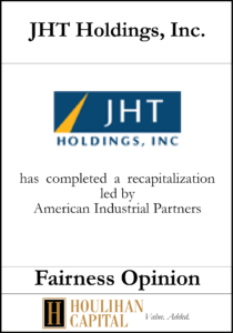JHT Holdings - Fairness Opinion Tombstone