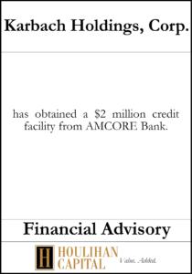 Karbach Holdings, Corp - Financial Advisory Tombstone
