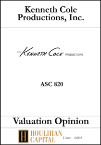 Kenneth Cole - ASC 820 - Valuation Opinion Tombstone