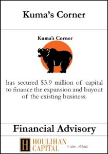 Kumas Corner - Financial Advisory Tombstone