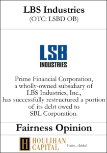 LBS Industries - Fairness Opinion Tombstone