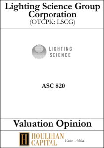 Lighting Science Group - ASC 820 - Valuation Opinion Tombstone