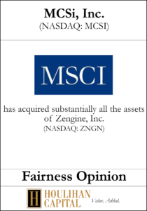 MSCi Inc - Fairness Opinion Tombstone