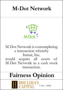 M-Dot Network - Fairness Opinion Tombstone
