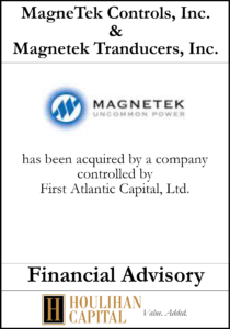 MagnaTek Controls - Financial Advisory Tombstone