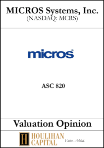 Micros - ASC 820 - Valuation Opinion Tombstone