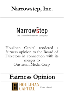 Narrowstep, Inc - Fairness Opinion Tombstone