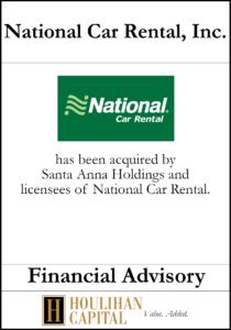 National Car Rental, Inc. - Financial Advisory Tombstone