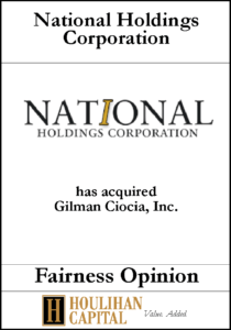 National Holdings Corp - Fairness Opinion Tombstone