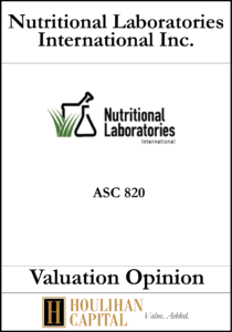 Nutritional Laboratories International Inc. - ASC 820 - Valuation Opinion Tombstone