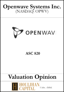 Openwave Systems Inc - ASC 820 - Valuation Opinion Tombstone